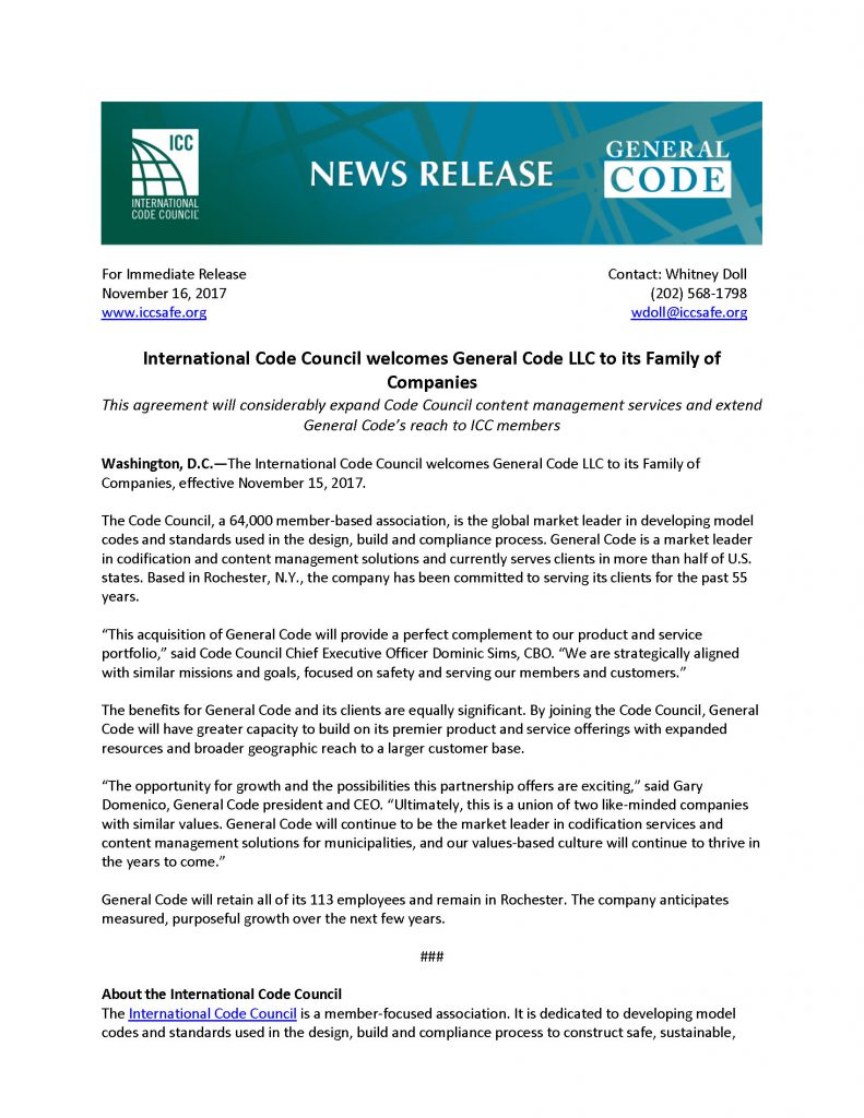 International Code Council welcomes General Code to its Family of